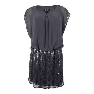 S.L. Fashions Women's Sequined Blouson Chiffon Dress