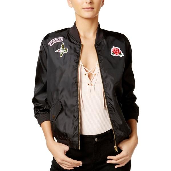 d1510be10 Shop Material Girl Womens Juniors Bomber Jacket Patchwork Zip Front ...