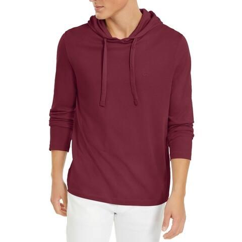 Michael Kors Mens Hoodie Solid Drawstring Hooded Pullover