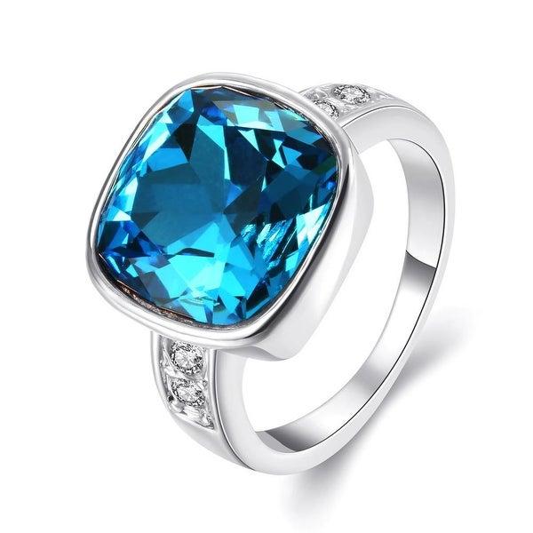 White Gold Plated Aqua Blue Stone Ring