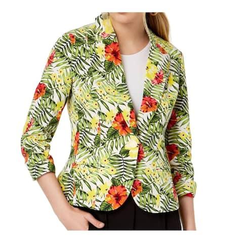 XOXO Green Multi Size Large L Junior's Single Button Tropical Blazer