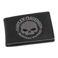"Harley-Davidson Men's Embroidered Willie G Skull Duo-Fold Wallet, XML6136-GRYBLK - 4"" x 2.75"""