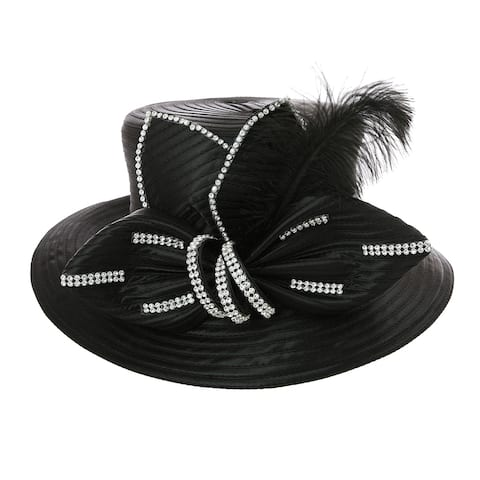 ChicHeadwear Braid Bow Hat w/ Feather