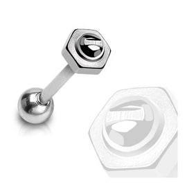 """Surgical Steel Barbell with 6mm Round Head """"Screw - Bolt"""" Top - 14 GA - 5/8"""" Long (6mm Ball) (Sold Ind.)"""
