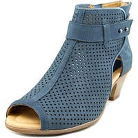 Earth Intrepid Women  Open-Toe Leather Blue Bootie