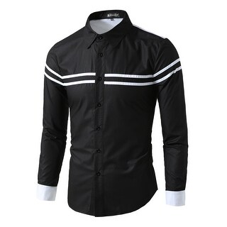 Men Color Block Stripes Pattern Long Sleeves Button Down Shirt - Black