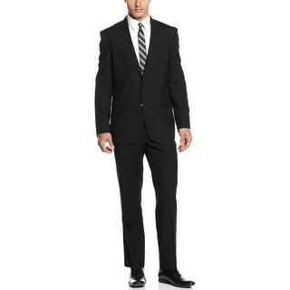 Kenneth Cole New York Slim Fit Black Striped Suit 40 Short 40S Pants 34W