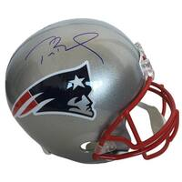 Tom Brady Signed New England Patriots Full Size Replica Helmet Blue Ink TriStar