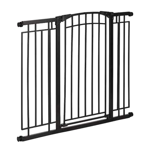 Multi-Use Décor Tall Walk-Thru Baby Gate, Black Metal