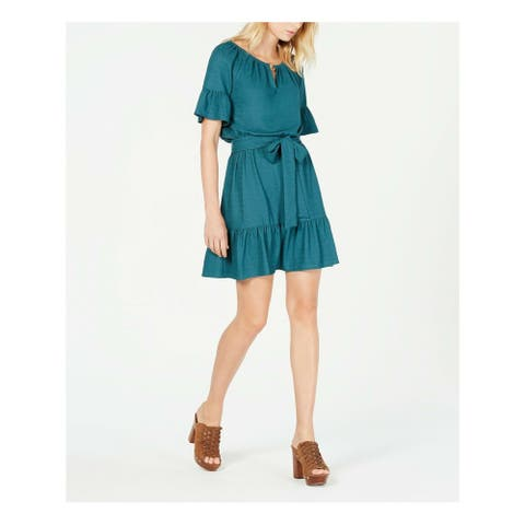 MICHAEL KORS Womens Teal Short Sleeve Mini Sheath Dress Size XS