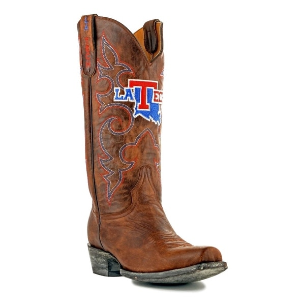 Gameday Boots Mens Leather College Team Louisiana Tech Brass