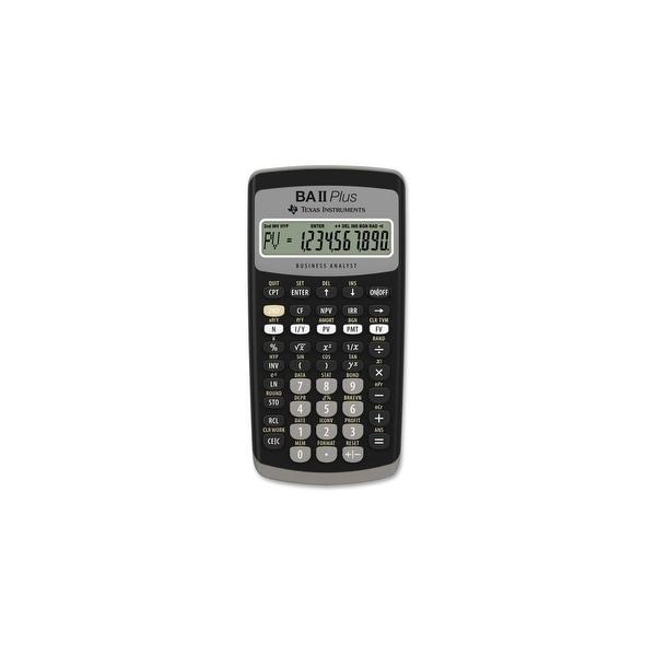 Texas Instruments BAIIPLUS Texas Instruments BA-II Plus Adv. Financial Calculator - 10 Digit(s) - LCD - Battery Powered -