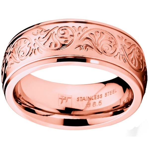 Personalized Stainless Steel Wedding Band Rose Gold IP Plated Stainless Steel  Wedding Band 5mm Stainless Steel Ring
