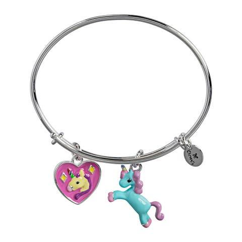 Unicorn Adjustable Charm Bangle Bracelet For Girls, Silver Rhodium