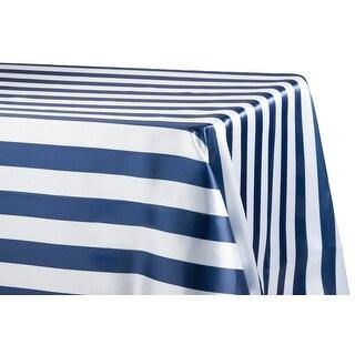 "Stripe Satin Rectangular Tablecloth 90""x132"" - Navy Blue & White, 1 Piece"