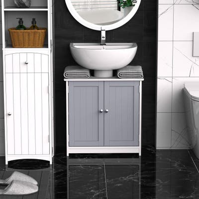 kleankin Vanity Base Cabinet, Under-Sink Bathroom Cabinet Storage with U-Shape Cut-Out, White and Grey