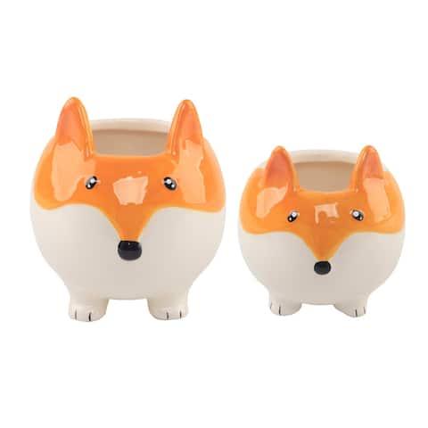 "5"" & 3.5"" Fox Ceramic Empty Planter,Set of 2"
