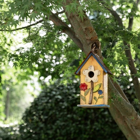 """Glitzhome 10""""H Distressed Solid Wood Birdhouse with Flower"""