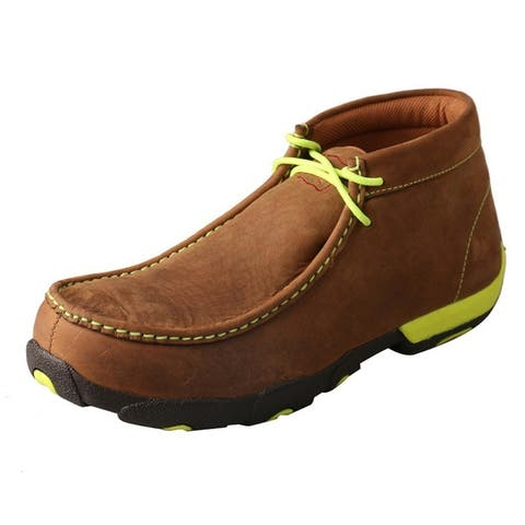 Twisted X Casual Shoes Men Steel Toe Driving Mocs Yellow Brown