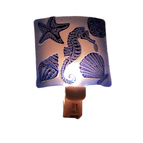 Blue Seahorse Hand Painted Art Glass Plug In Night Light