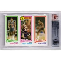 Magic Johnson signed Los Angeles Lakers 1980 Topps Rookie Card 18  Beckett Encapsulated
