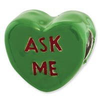Sterling Silver Reflections Kids Ask Me Enameled Heart Bead