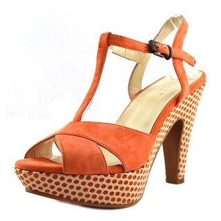 Enjoy By Lugani JessicaF Women Open Toe Suede Orange Platform Heel