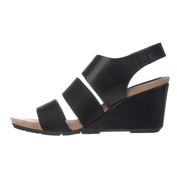Alfani Womens ELLEANA Leather Open Toe Casual Platform Sandals, Black, Size 7.5