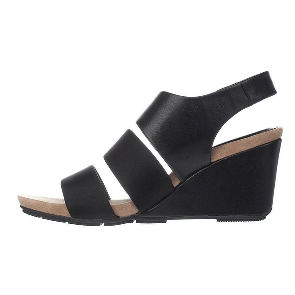 Alfani Womens ELLEANA Leather Open Toe Casual Platform Sandals, Black, Size 9.0