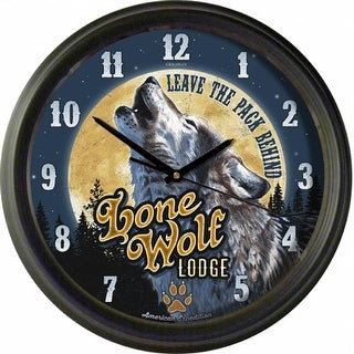 American Expedition Vintage Lone Wolf Lodge Clock - WCLK -406