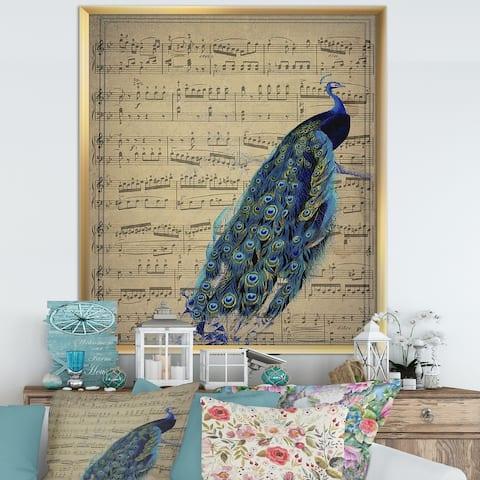 Designart 'Peacock Music Score' Cottage Framed Art Print
