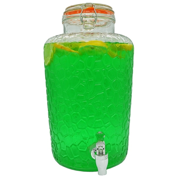 Palais Glassware Clear Glass Beverage Dispenser with Bail & Trigger Locking Lid - 2 Gallon (Island Pattern)