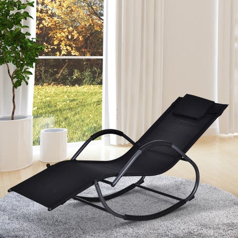 Outsunny Zero-Gravity Ergonomically Design Lounger Rocker for Indoor or Outdoor Use, UV/Water Fighting Material