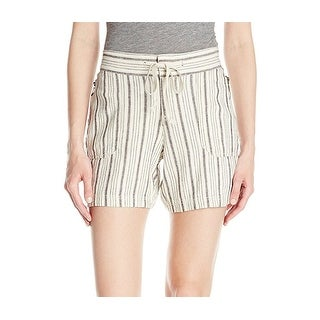 Supplies NEW Beige Womens Size 12 Striped Drawstring-Waist Casual Shorts