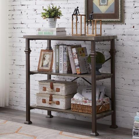 Industrial 3-Tier Open Bookcase Metal Storage Bookshelf