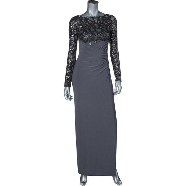 Lauren Ralph Lauren Womens Evening Dress Sequined High Waist