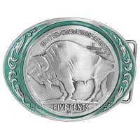 Buffalo Coin Enameled Belt Buckle