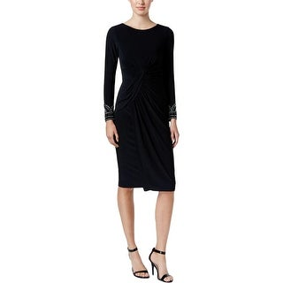 Vince Camuto Womens Cocktail Dress Embellished Gathered
