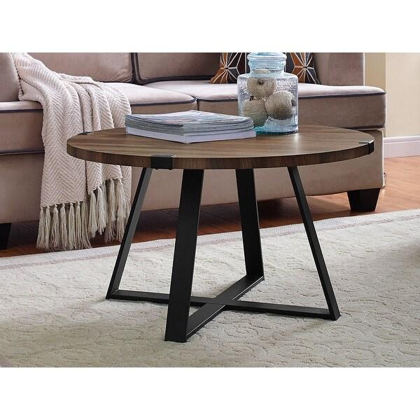 Offex 30 Urban Style Metal Wrap Round Coffee Table Dark Walnut Black Free Shipping Today 27199343