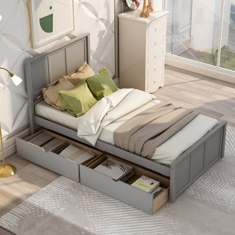 AOOLIVE Platform Storage Bed with 2 Drawers and Wheels, Twin, Grey