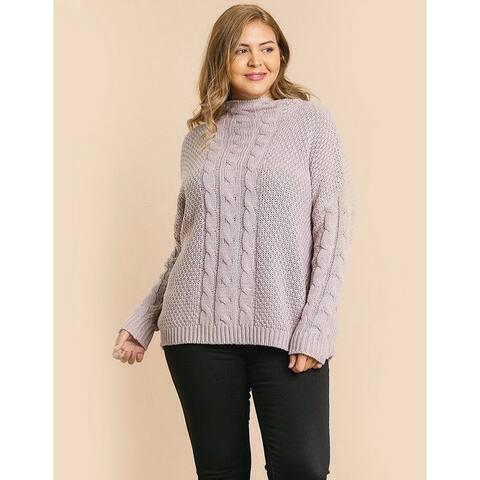 Plus Size Mauve Cable Knit Mock Neck Sweater