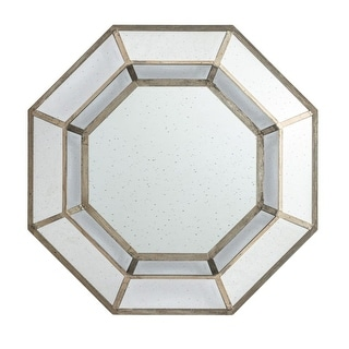 """40"""" Brown and Silver Finished Framed Octagonal Wall Mirror"""