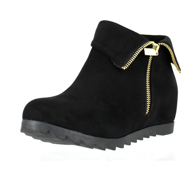Bella Marie Kansas-11 Women's Hidden Wedge Ankle Booties With Cuffed Collar - Black