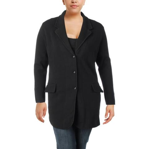 Lauren Ralph Lauren Womens Plus Cardigan Sweater Notch Collar Blazer