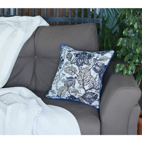 Porch & Den August Blue Jacquard Throw Pillow Cover