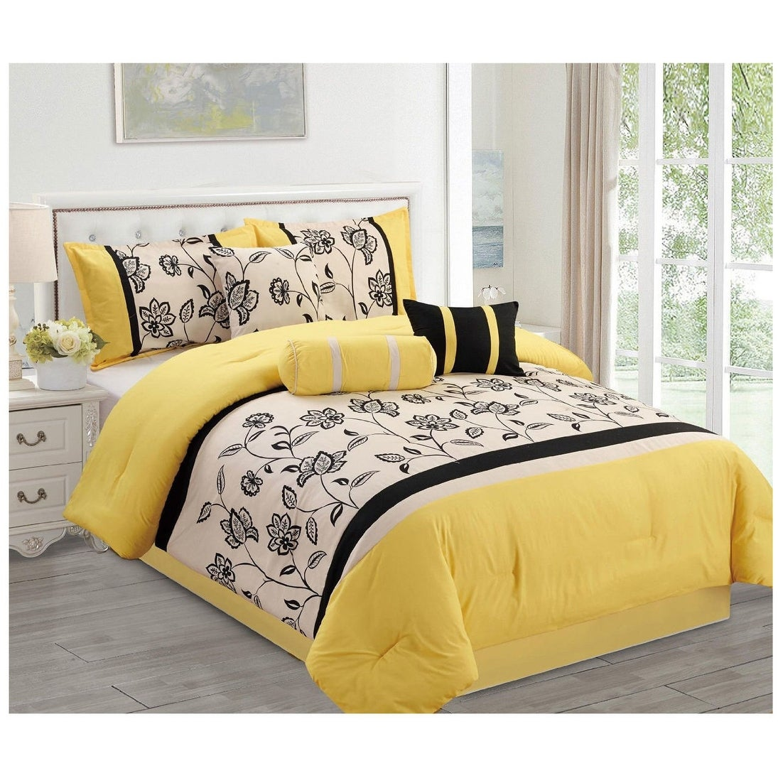 7 Pc Luxury Queen King Comforter Set Yellow Black Modern Contemporary Floral With Shams Overstock 12020887