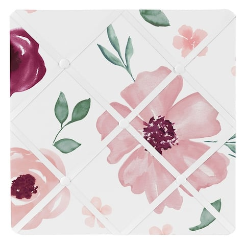 Burgundy Pink Watercolor Floral 13in Fabric Memory Photo Bulletin Board - Blush Maroon Rose Green Shabby Chic Flower Farmhouse
