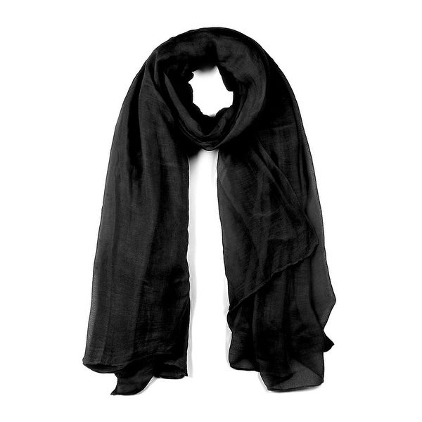 Long Warm Shawl Large Soft Solid Color Scarf for Women Men Black-1