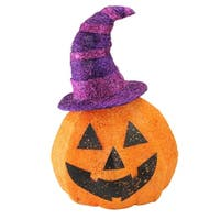 """18"""" Battery Operated Lighted Sisal Jack-o'-Lantern with a Witches Hat Halloween Outdoor Decoration - Orange"""