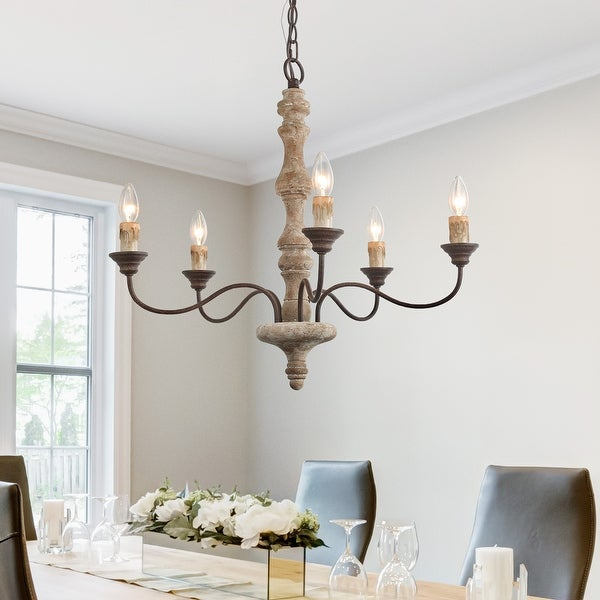 """The Gray Barn Antique 5-lights Candle Wood Chandelier French Country Handmade Lighting - D23""""XH24.5"""". Opens flyout."""